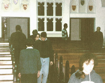 1993 - Gen-la Chris Yangchen teaching students walking meditation at Ashfield Uniting Church and Exodus Foundation, where AITHP was located for two years. During this time, Gen-la became more familiar with the western spiritual approach to healing those with problems. The Ashfield Uniting Church and Exodus Foundation are run by Reverend Bill Crews, and feeds the poor and homeless and operates a youth refuge.
