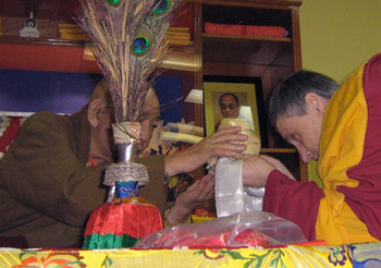 2007 - Gen-la Chris Yangchen making an offering to His Holiness Khalkha Rinpoche when he visited the Institute. At this time he offered her his support and declared that her teachings were new. In 2008 he became Patron of the Institute in recognition of the Overcoming Problems courses.