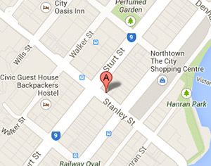 TBHP is located in the centre of Townsville, directly opposite Police Headquarters, and beside and upstairs from Viva Boutique. There is a bus stop directly across the road outside the Police Headquarters building.
