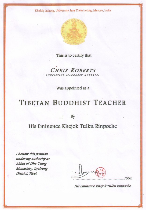 Recognition as Tibetan Buddhist Teacher