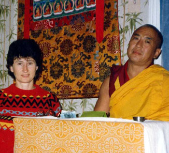 In 1986 Gen Chris Ngawang Yangchen was on the Committee of the Tibetan Buddhist Society (Loden Centre, Sydney) that brought Rinpoche to Australia. Gen-la is his first student outside Tibet and India. (Picture:- Gen-la and H.E. Khejok Rinpoche in 1986.)