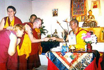 1996- H.E. Gyalrong Khensur Rinpoche, ex-Abbot of Sera Mey Monastic University on one of his visits to AITHP. In 2008 H.E. Khensur Rinpoche officially recognised the Overcoming Problems courses as a new approach to Buddhism.