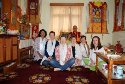 2009 - AITHP members at Sera Mey Monastic University, India, receiving, on behalf of Gen Chris Ngawang Yangchen, a certificate of recognition for starting a new approach to Buddhism from H.E. Khensur Rinpoche Ngawang Thekchok, the retired Abbot of Sera Mey.